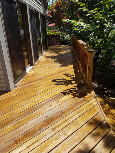 Deck power washing prepare for staining