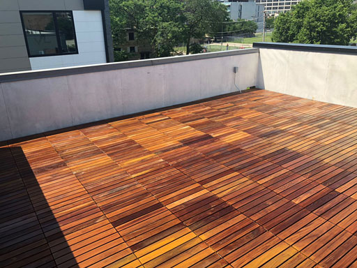rooftop IPE deck staining