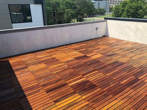 rooftop IPE deck staining