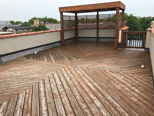 chicago rooftop deck before staining