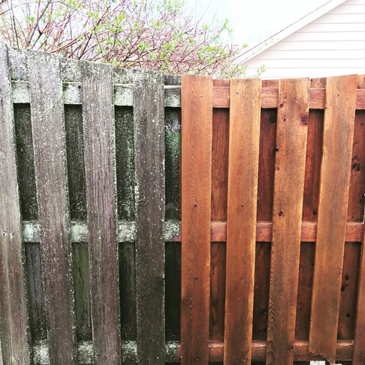 fence power washing before after